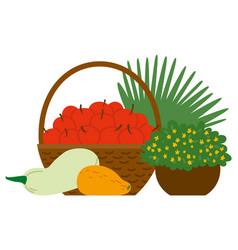 basket with red apples and vegetables image vector image