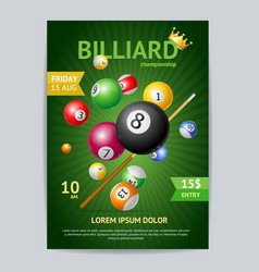 billiard tournament poster card template vector image