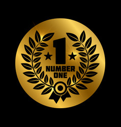 black number one label vector image