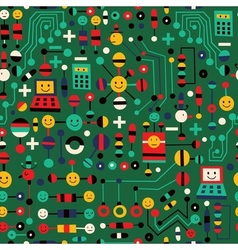 cartoon circuit board pattern vector image