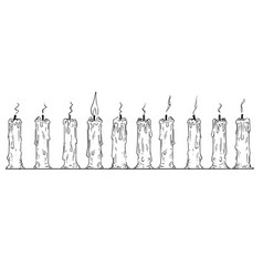 Cartoon of row of burnt-out candles only one of vector