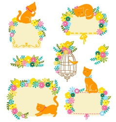 Cats and flowers vector