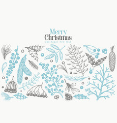 christmas banner template hand drawn greeting vector image
