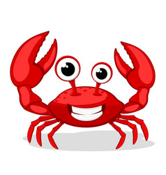 Crab character smiling with big claws on a white vector
