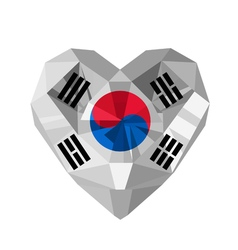 Crystal gem jewelry Korean heart with the flag of vector