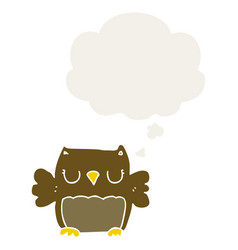 Cute cartoon owl and thought bubble in retro style vector