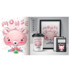 Cute mouse - poster and merchandising vector