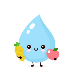 Cute smiling water drop with carrot and apple vector