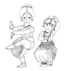 Dancing Indian girls vector