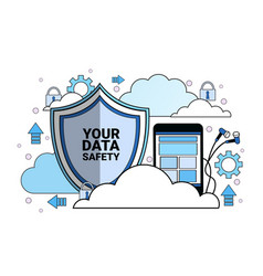 data safety cloud shield tablet padlock over vector image
