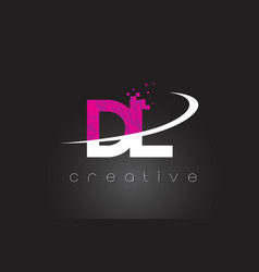 Dl d l creative letters design with white pink vector