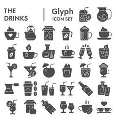 drinks glyph icon set beverage symbols collection vector image