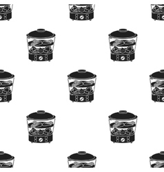 Food steamer icon in black style isolated on white vector image