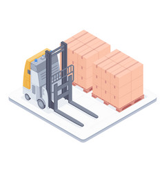 forklift with boxes on pallets isometric vector image