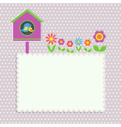 Frame with birdhouse vector