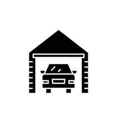 Garage black icon sign on isolated vector