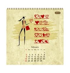 Girls retro calendar 2014 for your design february vector
