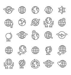 globes icons and symbols set vector image