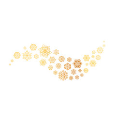 gold snowflakes wave christmas golden ornament vector image