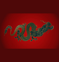 Golden dragon on red background vector