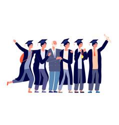 graduated students graduates with teacher vector image
