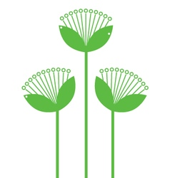 Green Flowers Line art isolated on white vector image