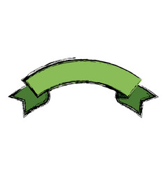 green ribbon banner decoration celebration icon vector image