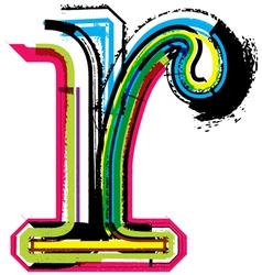 Grunge colorful font Letter r vector image