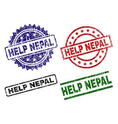 Grunge textured help nepal stamp seals vector