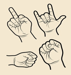 Hand signs 4 vector image