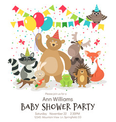happy birthday animals poster woodland forest vector image