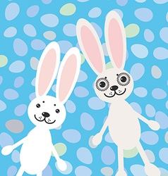 Happy Easter rabbits on blue background card vector image