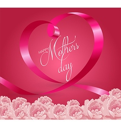 Happy mothers day lettering with pink ribbon vector