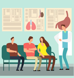 healthcare concept - patients and doctor in vector image