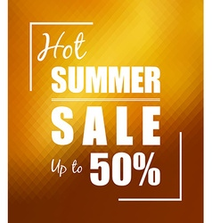 Hot summer sale over sunny golden background vector image