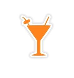 Icon sticker realistic design on paper cocktail vector