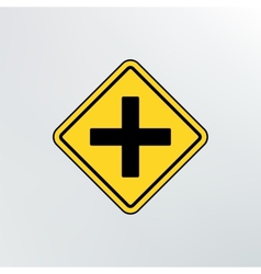 Intersection ahead road icon vector
