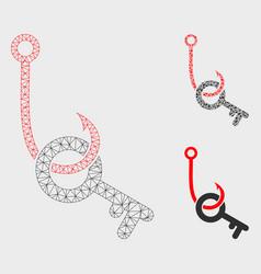 Key phishing hook mesh 2d model and vector