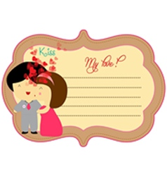 Kissing sweet love valentines about label vector image