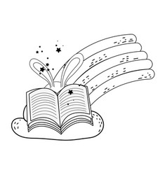 magic rabbit ears with book and rainbow vector image