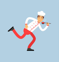 Male chef cook character in uniform running with vector