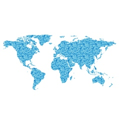 map of the world with blue square vector image