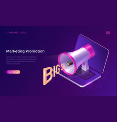 marketing promotion concept isometric megaphone vector image