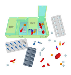 Medicaments and box with dosage for day set vector