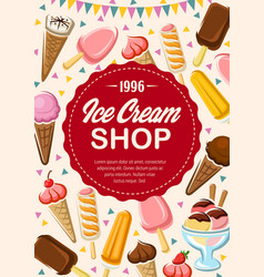 Menu ice cream shop ice-cream cones desserts vector
