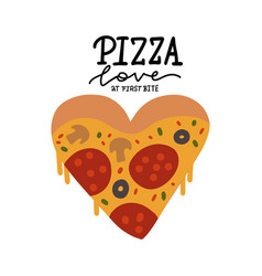 modern cartoon style pizza slice in heart shape vector image