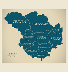 Modern city map - leeds city of england with vector