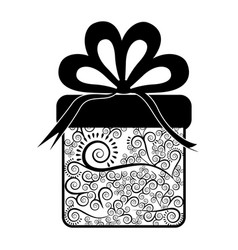 Monochrome silhouette of giftbox with decorative vector