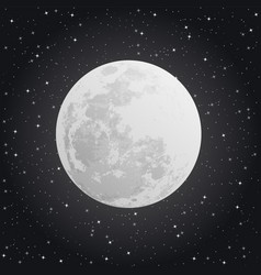 Moon on dark background night sky vector