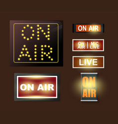 on air broadcasting signs vector image